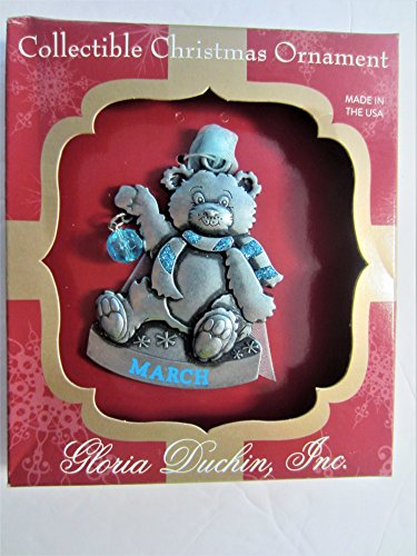 Gloria Duchin Jewelry For Your Tree Christmas MARCH BIRTHSTONE BEAR Ornament