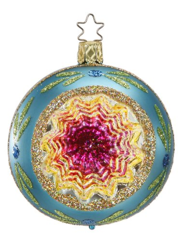 Inge-Glas Reflector Ball Christmas Shine Aqua Blue 20686R008A German Glass ORN
