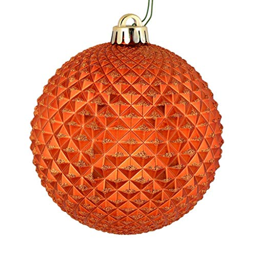 Vickerman 529836-2.75″ Burnish Orange Durian Glitter Ball Christmas Tree Ornament (12 pack) (N188418D)