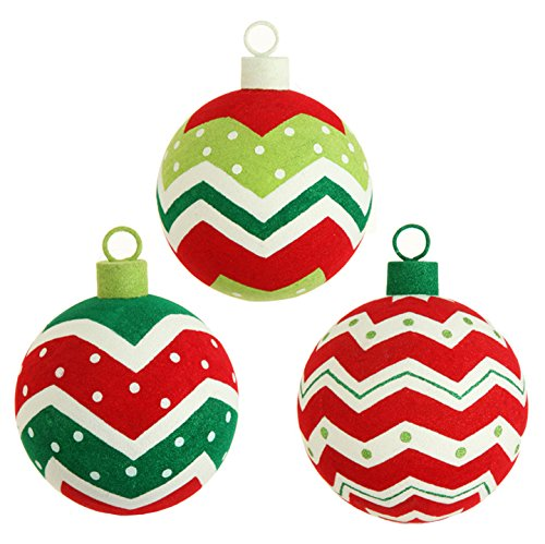 RAZ Imports – 6 Inch Flocked Ball Christmas Tree Ornaments – Set of 3