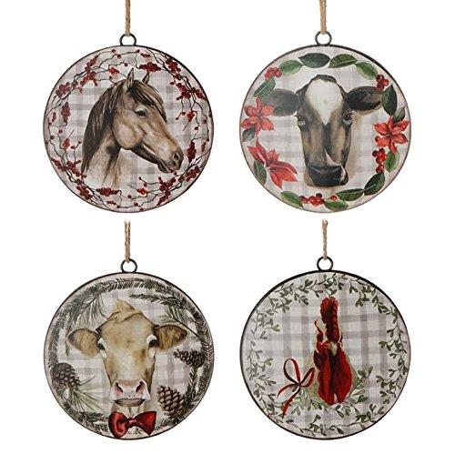 RAZ Animal Disk Christmas Ornament Set of 4