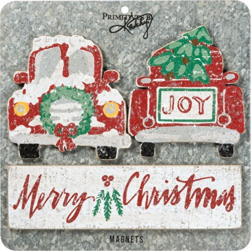 Primitives By Kathy Magnet Wood Magnet Set – Merry Christmas Decorative Ornaments