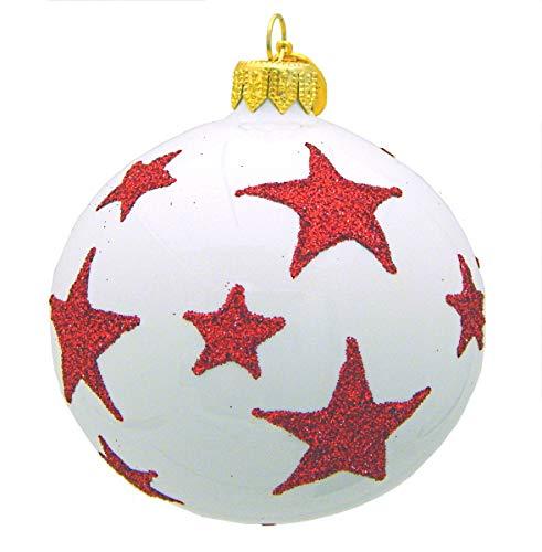Landmark Creations' White Ball with Glittered Red Stars European Glass Christmas Ornament