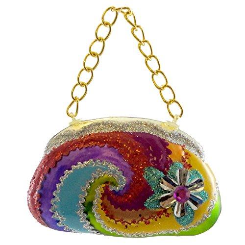 Holiday Ornament GROOVY PURSE SILVER Glass Handbag Peace 3613960 SILVER
