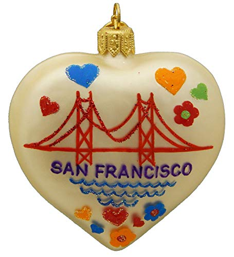 Landmark Creations' San Francisco Heart European Glass Christmas Ornament