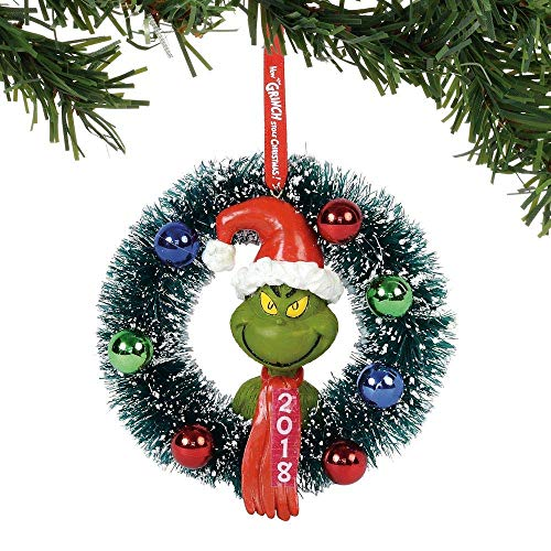 Department 56 Grinch 2018 Wreath Hanging Ornament, 4″, Multicolor