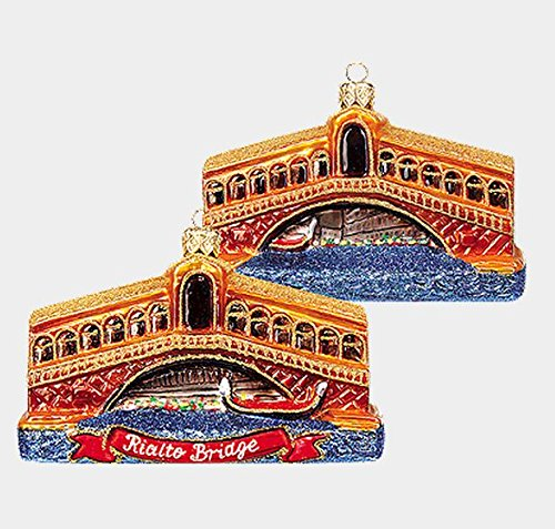 Pinnacle Peak Trading Company Venice Rialto Bridge Polish Blown Glass Christmas Ornament Italy Decoration