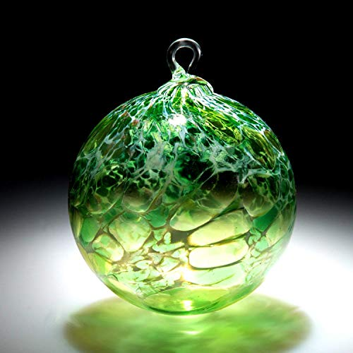 Ornament. Sun catcher. Hand blown Fine Art Glass Ornament in Green White Powder. Made in Seattle. Artist Dehanna Jones.