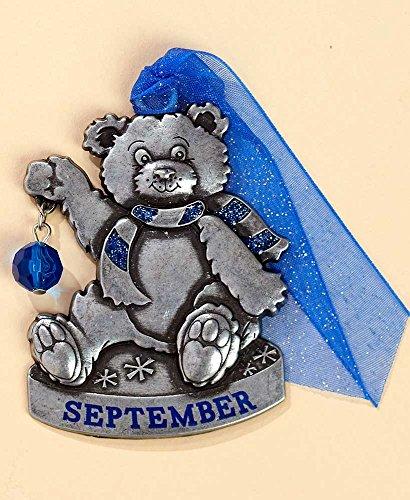 Gloria Duchin Birthstone Bear – September Christmas Ornament, Silver and Red