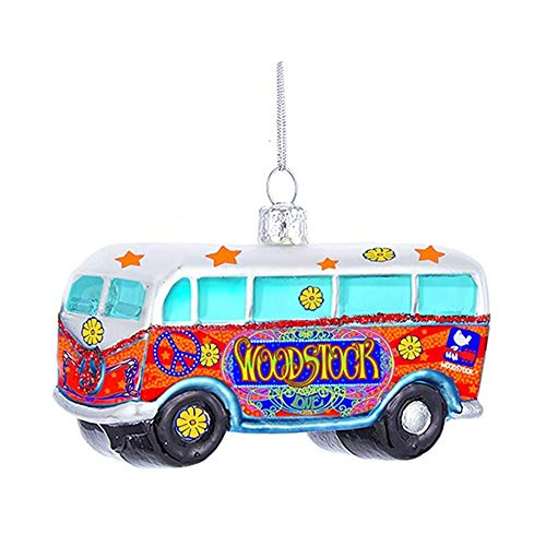 Kurt Adler Woodstock Glass Bus Ornament