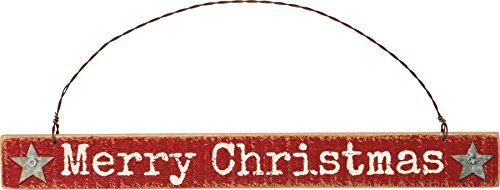 Primitives By Kathy 9.25 Inches x 1 Inch Metal Wire Wood Merry Christmas Sign Ornament – Home Decor Accents