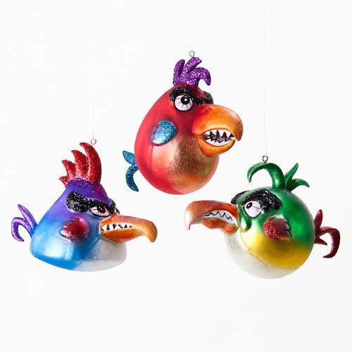 180 Degrees TT0289 4″ Angry Mean Upset Birds Glass Christmas Halloween Ornament Decoration
