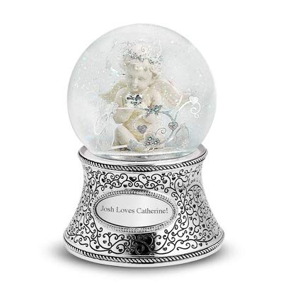 Things Remembered Personalized Cherub Musical Snow Globe with Engraving Included