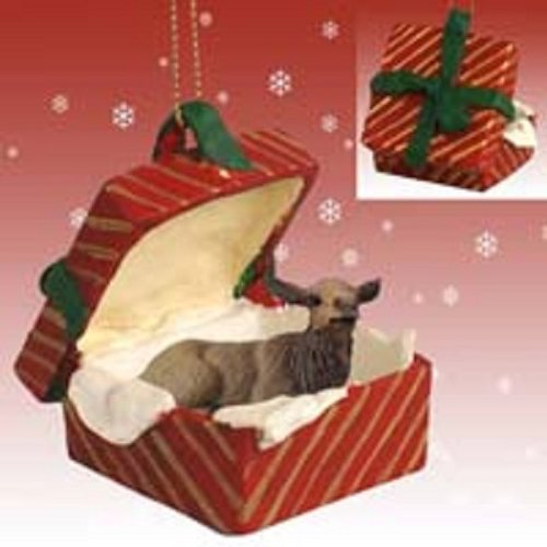 Conversation Concepts Elk Cow Gift Box Red Ornament
