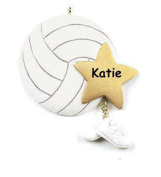 Personalized Volleyball Player Christmas Ornament – Ball with Star and Shoes – Free Custom Name