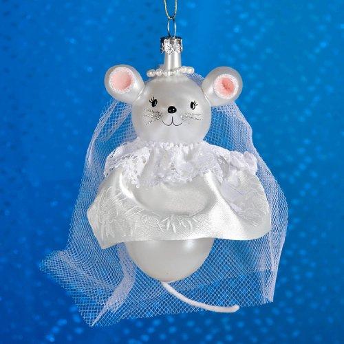 De Carlini Mouse Bride Italian Mouthblown Christmas Ornament