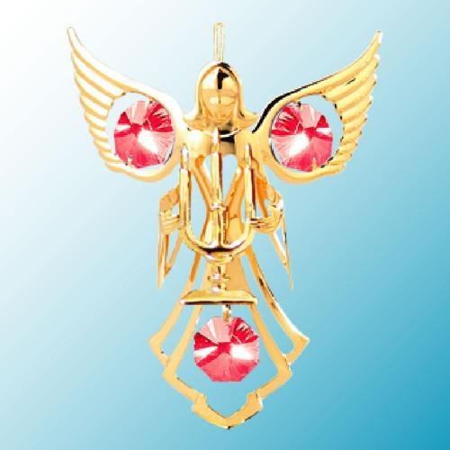 24k Gold Angel with Candles Ornament – Red Swarovski Crystal