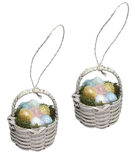 Bethany Lowe Mini Easter Egg Basket Ornament Set of 2