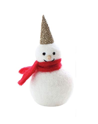 Creative Co-Op 6 Inch Wool Felt Snowman with Scarf