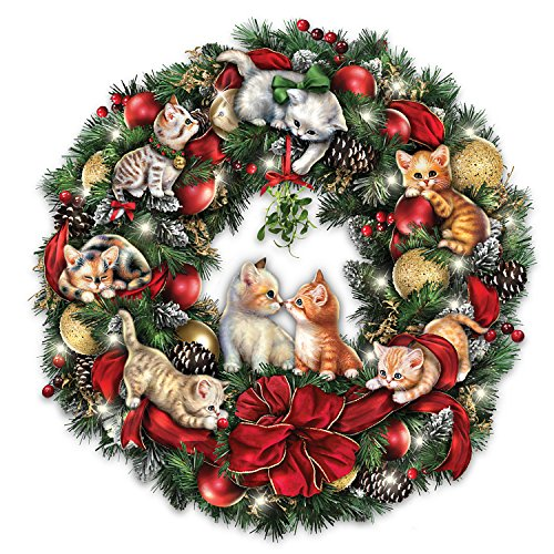 Jurgen Scholz Lighted Always In Bloom Christmas Wreath With Kitten Art by The Bradford Exchange