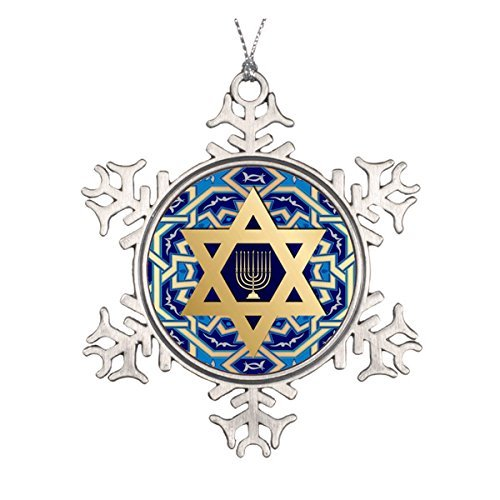 LilithCroft99 Happy Hanukkah! Star of David and Menorah Design Pewter Snowflake Christmas Ornaments,Christmas Tree Decorations Ornaments,Keepsake,Novelty
