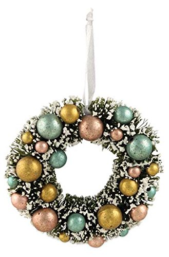 Bethany Lowe Mini Bottle Brush Wreath Ornament with Balls`