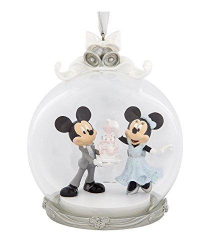 Disney Parks Mickey Minnie Mouse Wedding Figurine Dome Ornament