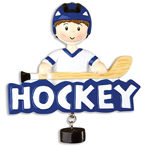 Personalized Hockey Boy Christmas Tree Ornament 2019 – Athlete Blue Jersey Helmet with Stick Skate Ice Coach Hobby School Profession Winter Sport Man Team Player Gift Year – Free Customization