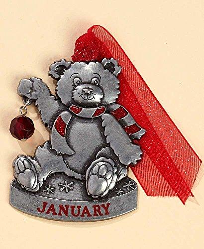 Gloria Duchin Birthstone Bear – January Christmas Ornament Silver and Red