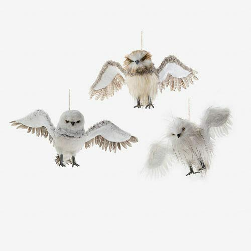 180 Degrees JA0027 Large 28″ Winter Flying Owls Feathered Christmas Ornament Woodland Friend