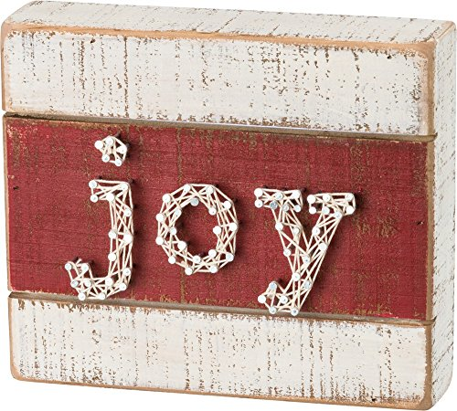 Primitives by Kathy String Art Joy – Red/White Christmas Box Sign