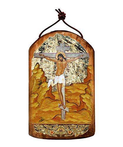 Jesus Crucifixion wooden Icon – Plaque Ornament by G. DeBrekht # 87058
