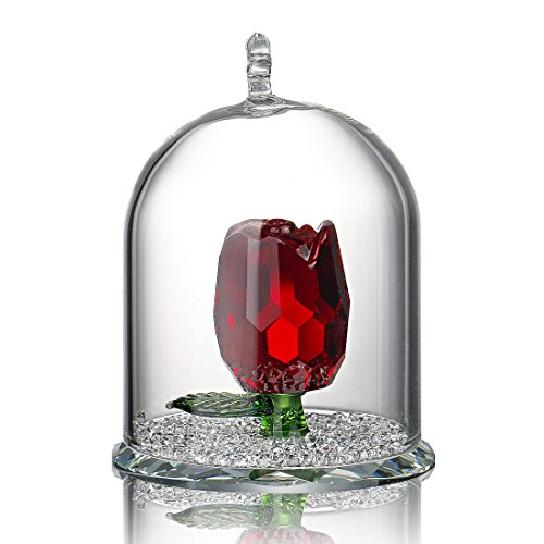 H&D Crystal Rose Flower Figurine Dreams Ornament in a Glass Dome Gifts for her (Red)