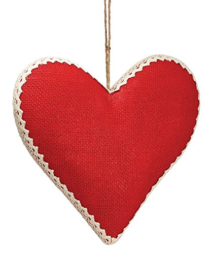 Red Burlap Heart-Shaped Hanging Ornaments – Valentines Day Decoration (Small)