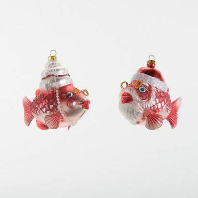180 Degrees FH0610 Set/2 Mr. & Mrs. Santa Claus Kissing Fish Glass Christmas Ornament