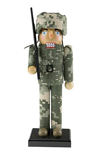 Clever Creations Traditional Army Soldier Nutcracker | Traditional Festive Decorative Nutcracker | with Camouflage and Carrying Rifle | 100% Wood | Stands at 10″ Tall Perfect for Shelves and Tables