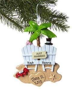 Rudolph and Me Just Married – Beach Chairs Personalized Christmas Ornament