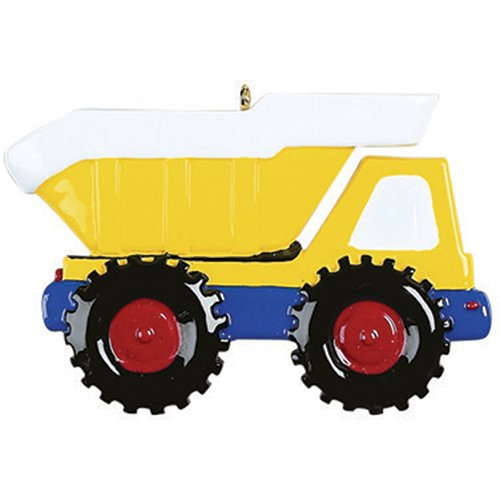 Personalized Dump Truck Christmas Tree Ornament 2019 – Yellow Mighty Back Hoe Toy Unload Lift Machine Caterpillar Construction Field Trailer Boy Toddler Holiday Year – Free Customization