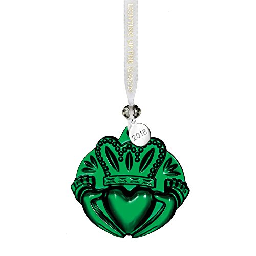Waterford 2018 Claddagh Ornament, Green 3″
