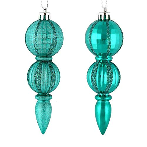 Vickerman 544457-5″ Teal Glitter/Matte Finial Christmas Tree Ornament (set of 6) (M183642)