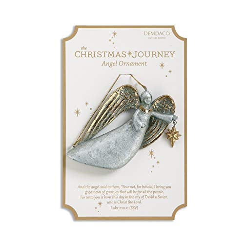 DEMDACO Christmas Journey Good News Angel 4 x 3 Inch Resin Hanging Christmas Ornament