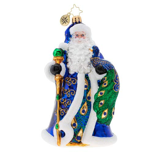 Christopher Radko Princely Peacock Santa Christmas Ornament, Blue, White