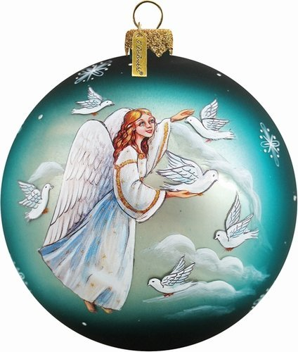 G. Debrekht Angel of Peace Ball Ornament, Hand-Painted Glass, 3-Inch, Includes Satin Ribbon for Hanging