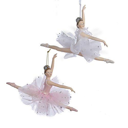 Kurt Adler Pink and White Ballerina Christmas Ornaments 2 Assorted