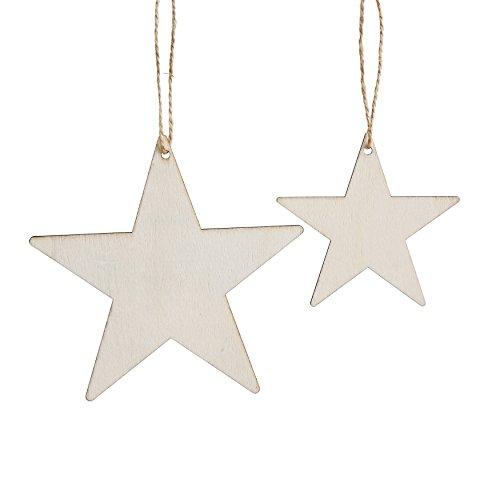 Creative Co-Op XM0715 Set of 24 Wood Star Ornament Hangtags in Bag