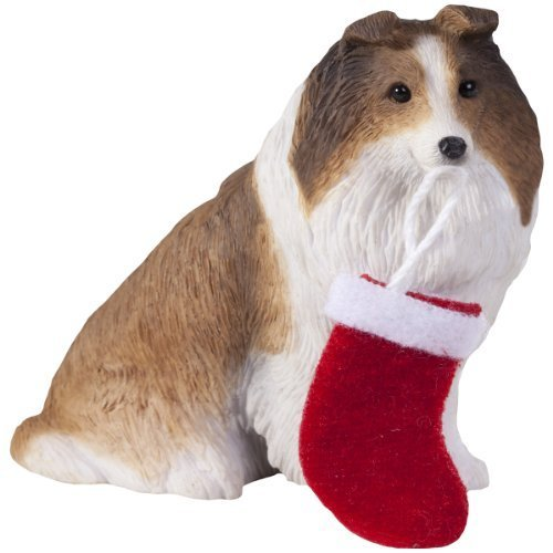 Sandicast Sable Shetland Sheepdog with Stocking Christmas Ornament by Sandicast