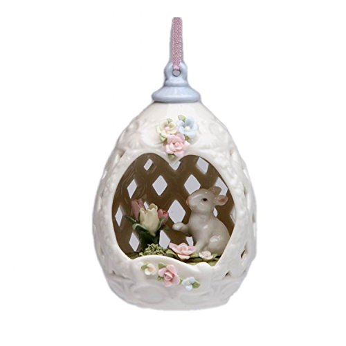 Cosmos 80110 Fine Porcelain Egg Shape Ornament with Bunny Design Figurine, 4-1/4-Inch