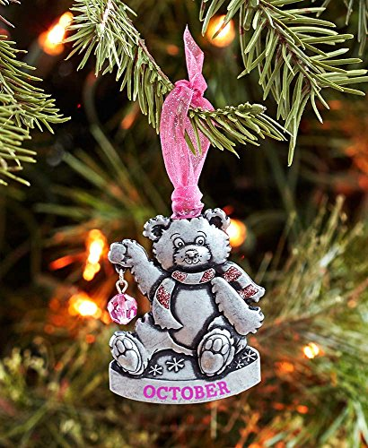 Gloria Duchin Birthstone Bear – October Christmas Ornament, Silver and Red
