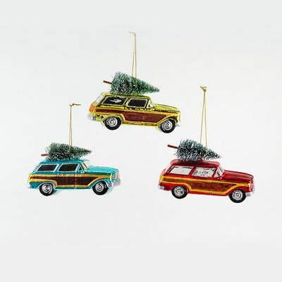 180 Degrees FH0528 Set/3 Retro 5.5″ Woody Station Wagon w/Tree Glass Christmas Ornament