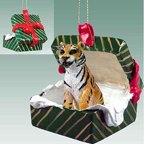 Conversation Concepts Tiger Gift Box Green Ornament